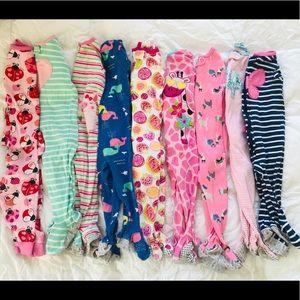 12 Month Girl Pajamas (9 pairs)